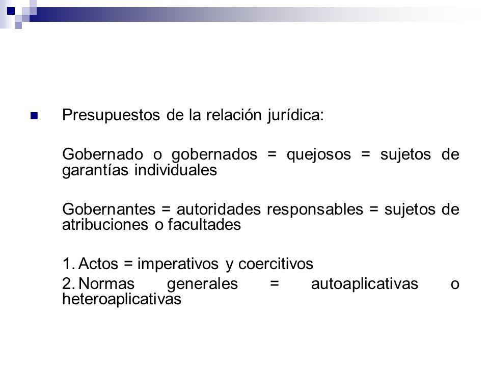 Presupuestos de la relación jurídica: Gobernado o gobernados = quejosos = sujetos de garantías individuales Gobernantes = autoridades responsables = s