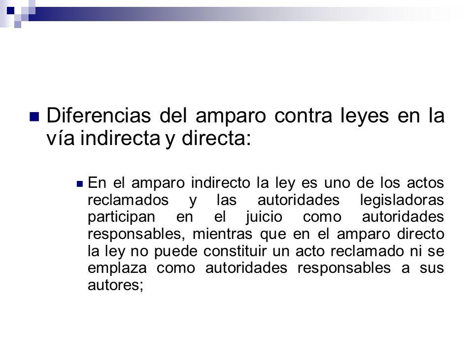 Diferencias del amparo contra leyes en la vía indirecta y directa: En el amparo indirecto la ley es uno de los actos reclamados y las autoridades legi