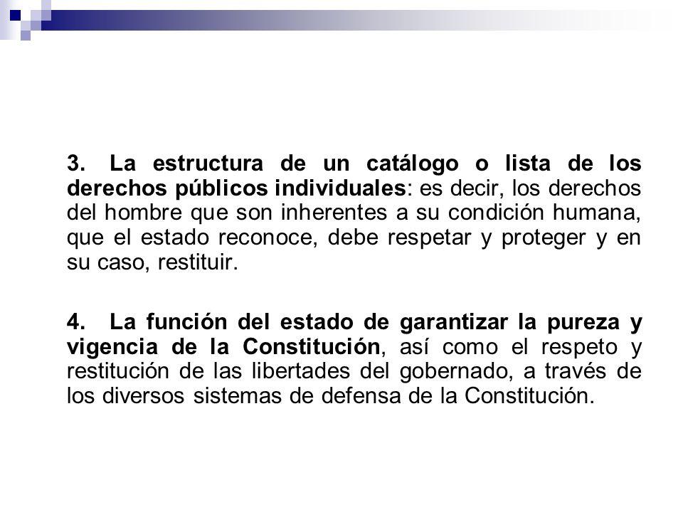 3.La estructura de un catálogo o lista de los derechos públicos individuales: es decir, los derechos del hombre que son inherentes a su condición huma