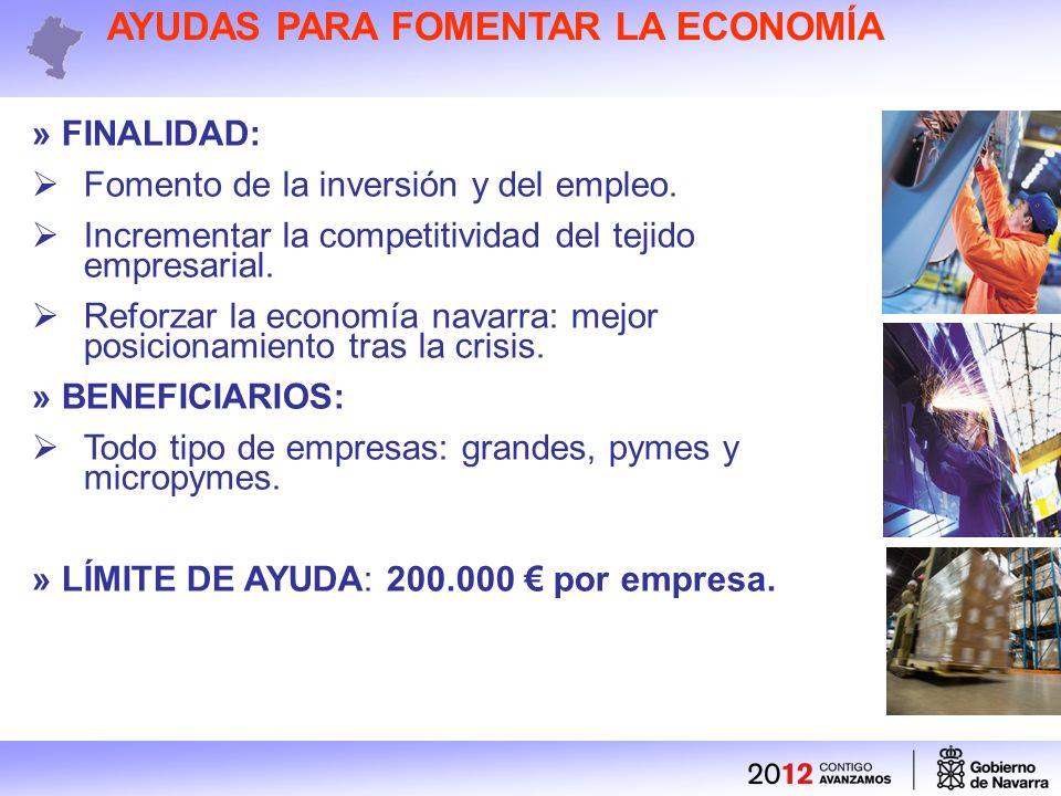 AYUDAS PARA FOMENTAR LA ECONOMÍA » FINALIDAD: Fomento de la inversión y del empleo.
