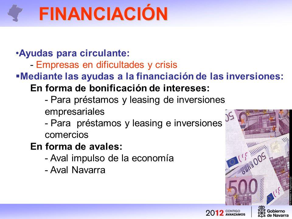FINANCIACIÓN Ayudas para circulante: - Empresas en dificultades y crisis Mediante las ayudas a la financiación de las inversiones: En forma de bonificación de intereses: - Para préstamos y leasing de inversiones empresariales - Para préstamos y leasing e inversiones en comercios En forma de avales: - Aval impulso de la economía - Aval Navarra