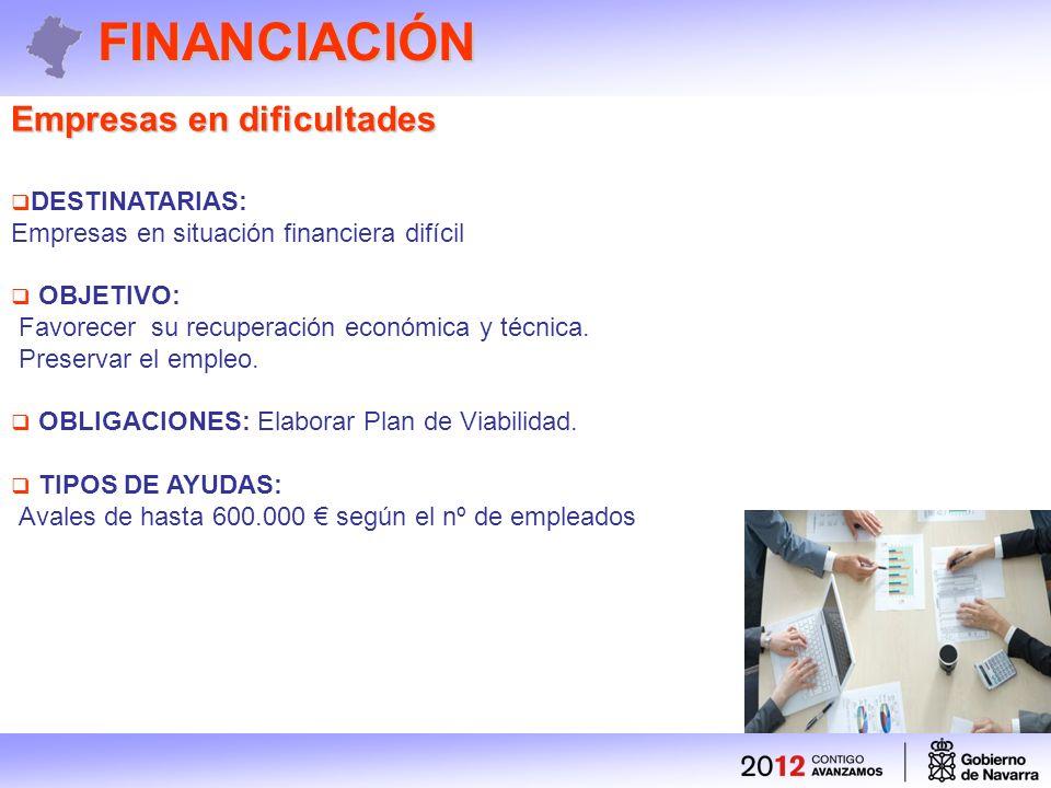 FINANCIACIÓN Empresas en dificultades DESTINATARIAS: Empresas en situación financiera difícil OBJETIVO: Favorecer su recuperación económica y técnica.