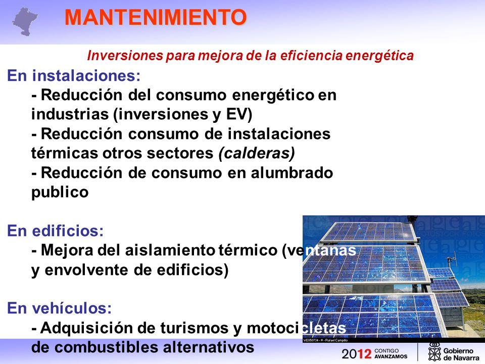 MANTENIMIENTO Inversiones para mejora de la eficiencia energética En instalaciones: - Reducción del consumo energético en industrias (inversiones y EV) - Reducción consumo de instalaciones térmicas otros sectores (calderas) - Reducción de consumo en alumbrado publico En edificios: - Mejora del aislamiento térmico (ventanas y envolvente de edificios) En vehículos: - Adquisición de turismos y motocicletas de combustibles alternativos