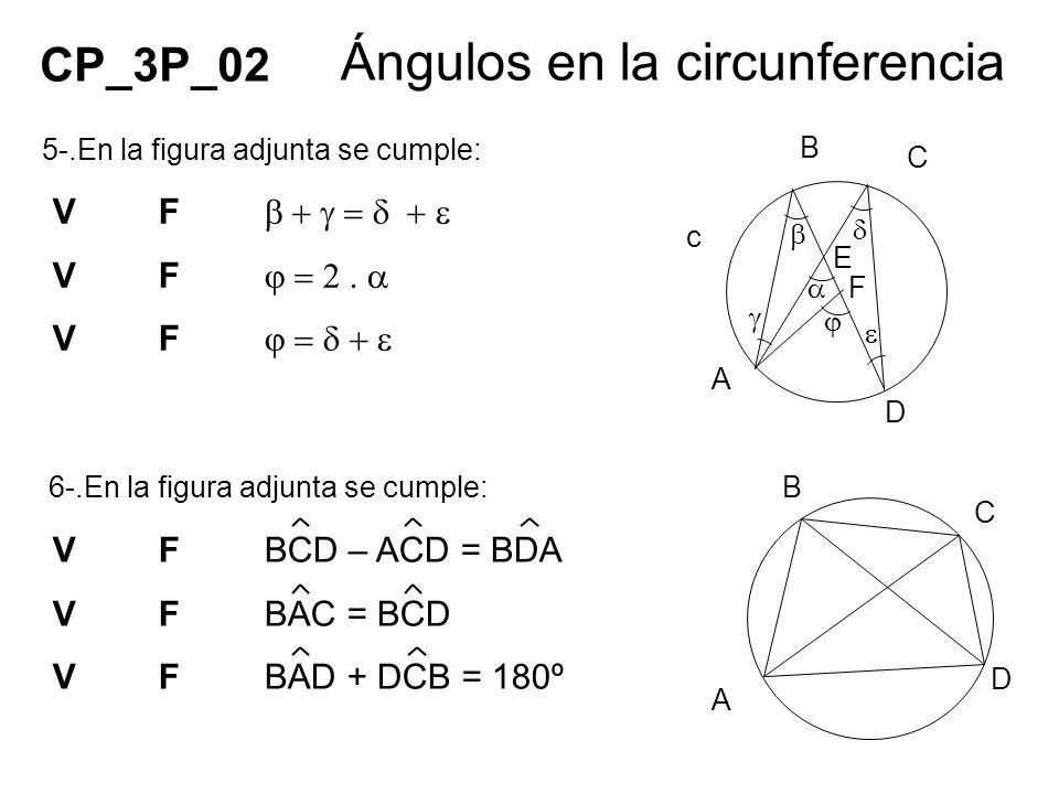 5-.En la figura adjunta se cumple: VF 6-.En la figura adjunta se cumple: CP_3P_02 Ángulos en la circunferencia VFBCD – ACD = BDA VFBAC = BCD VFBAD + D