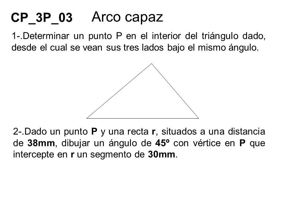 1-.Determinar un punto P en el interior del triángulo dado, desde el cual se vean sus tres lados bajo el mismo ángulo. 2-.Dado un punto P y una recta