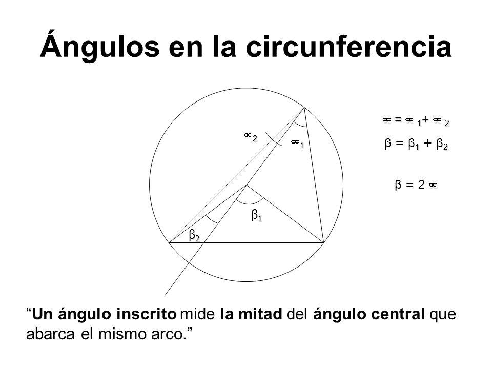 Ángulos en la circunferencia 1 1β11β1 2 = 1 + 2 = 1 + 2 12 β = β 1 + β 2 2β22β2 β = 2 Un ángulo inscrito mide la mitad del ángulo central que abarca e