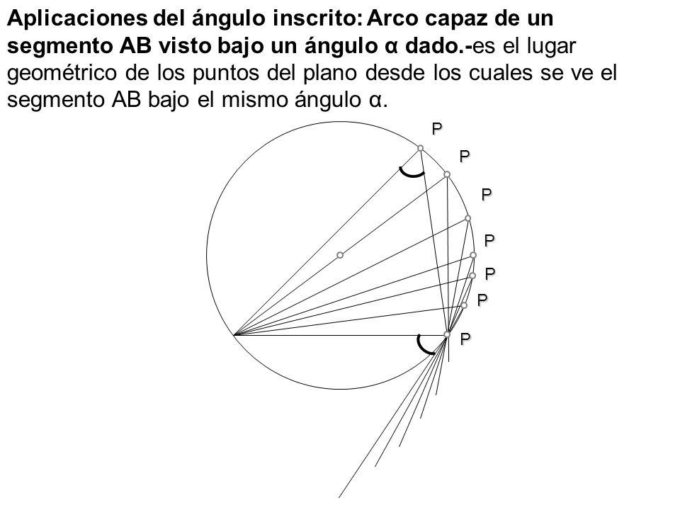 P P P P P P P Aplicaciones del ángulo inscrito: Arco capaz de un segmento AB visto bajo un ángulo α dado.-es el lugar geométrico de los puntos del pla