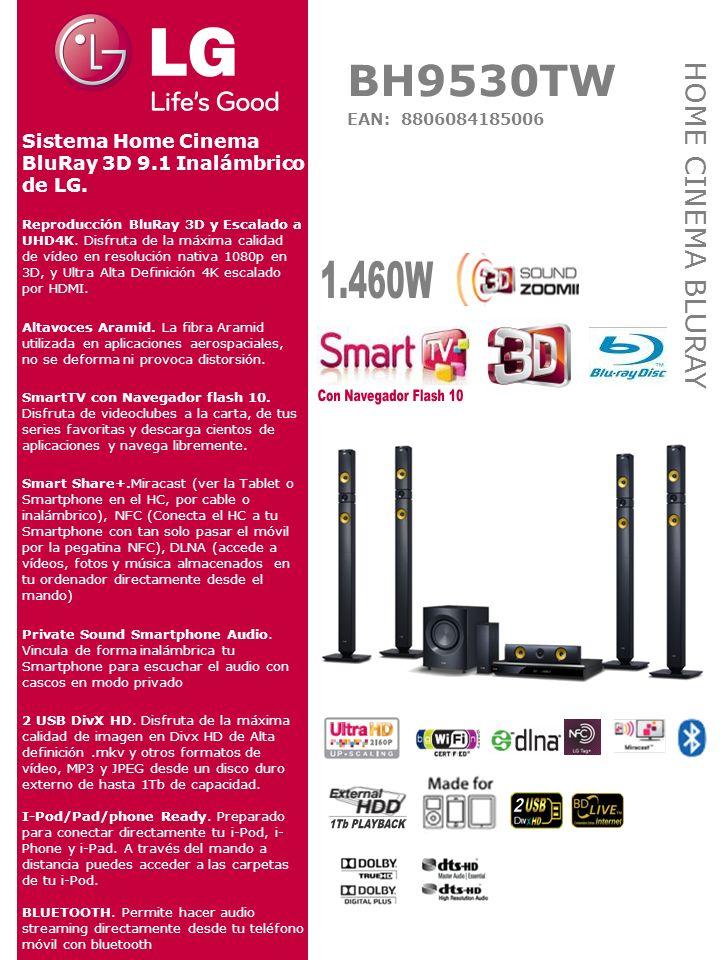DIMENSIONES SISTEMA Ancho x Alto x Fondo Reproductor: 444 X 65 X 292.5 mm Frontales: 270x1300x270 mm Central: 360x81x70 mm Traseros: 270x1300x270 mm Subwoofer: 251x336x310mm, CONEXIONES 2 USB plus 2.0 (DivxHD, MKV, JPEG, MP3) Hasta 1Tb de Capacidad Entrada de audio analógica L/R Entrada Audio Digital óptica 2 Entradas HDMI 1 salida HDMI 1.4 conversión UHD 4K2160 (SIMPLINK) Antena FM Ethernet LAN RJ45 FORMATOS DE LECTURA BLU-RAY 3D BD ROM, BD-R, BD-RE, DVD (NTSC, PAL, -R, -RW, +R, +RW) Audio CD-R, -RW, DTS CD MPEG2, MPEG4 AVC (H.264), SMPTE VC1 (VC9) DivX, DivXHD, MKV, AVCHD, M4V, WMV, FLV, 3GP, MPEG1, MP4 MOV, VOB.