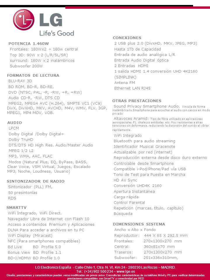 DIMENSIONES SISTEMA Ancho x Alto x Fondo Reproductor: 444 X 65 X 292.5 mm Frontales: 270x1300x270 mm Central: 360x81x70 mm Traseros: 270x1300x270 mm S