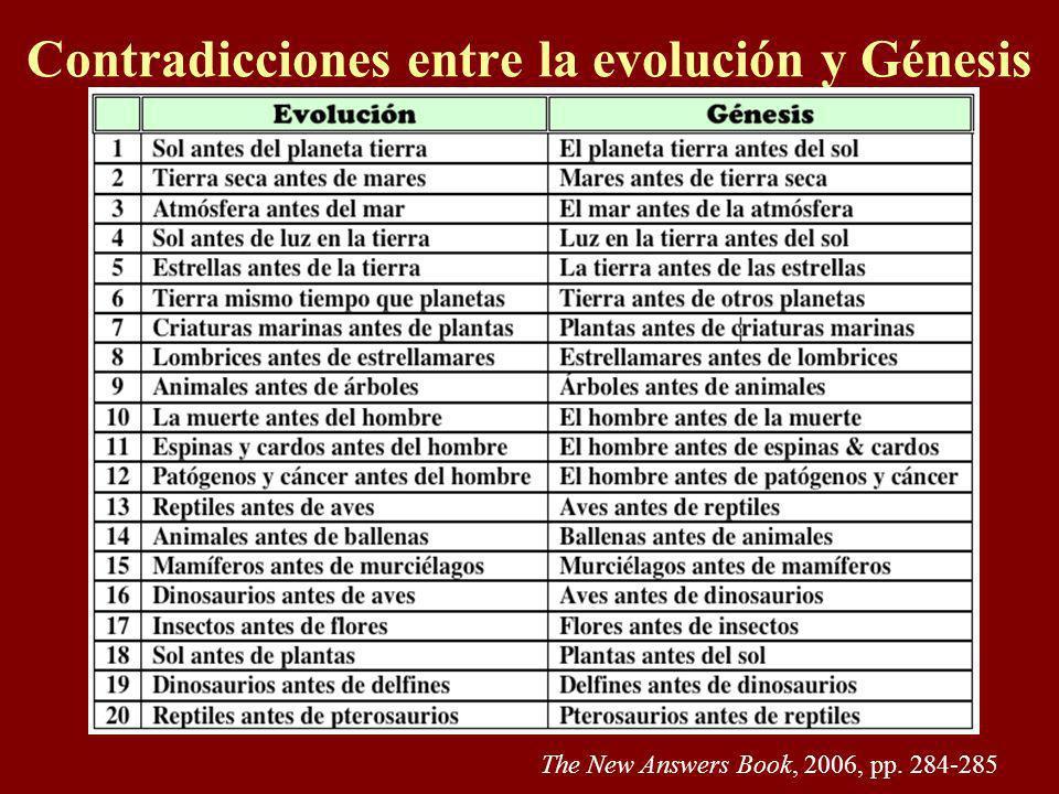 Contradicciones Algunos dicen que la Biblia es consistente con la evolución orgánica. Para sostener tal teoría, es necesario tomar la sección bíblica