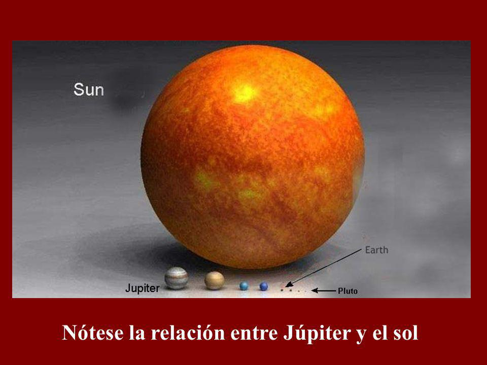 Nótese la relación entre la tierra y Júpiter