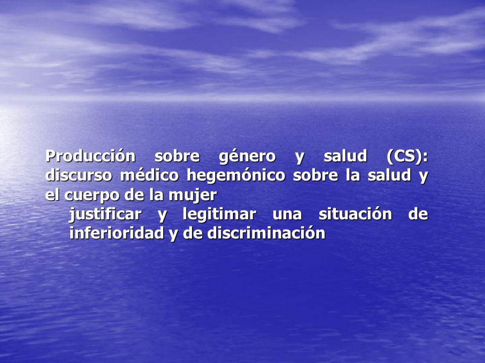 Producción sobre género y salud (CS): discurso médico hegemónico sobre la salud y el cuerpo de la mujer justificar y legitimar una situación de inferi