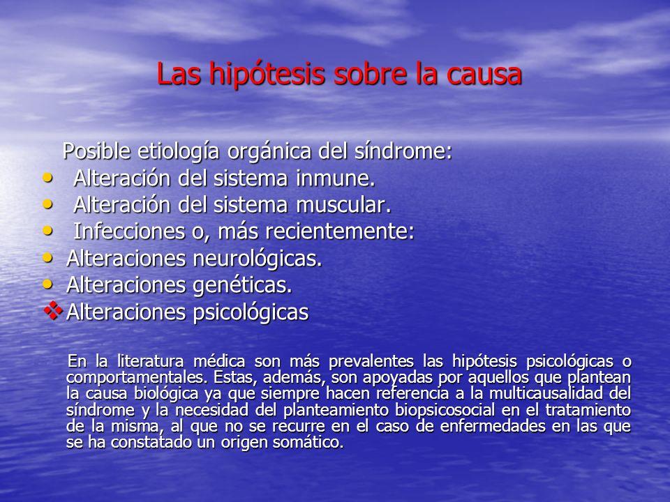 Las hipótesis sobre la causa Las hipótesis sobre la causa Posible etiología orgánica del síndrome: Posible etiología orgánica del síndrome: Alteración