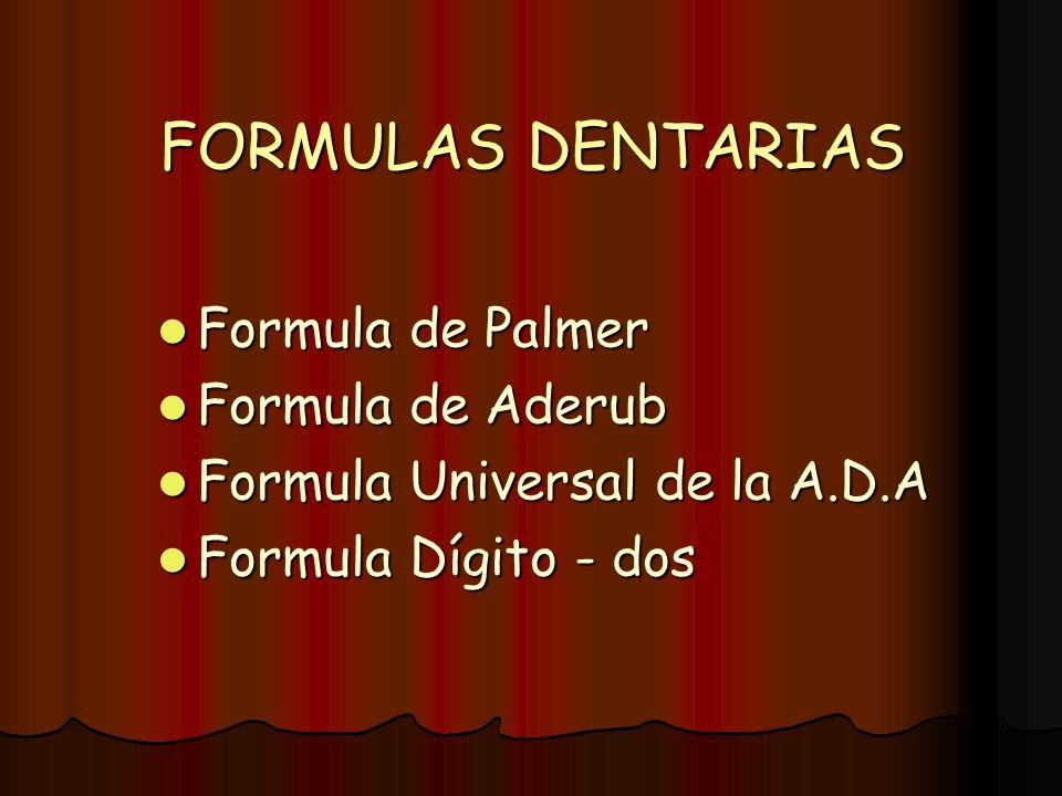 FORMULAS DENTARIAS Formula de Palmer Formula de Palmer Formula de Aderub Formula de Aderub Formula Universal de la A.D.A Formula Universal de la A.D.A