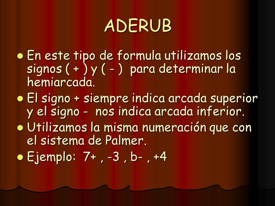 ADERUB En este tipo de formula utilizamos los signos ( + ) y ( - ) para determinar la hemiarcada. En este tipo de formula utilizamos los signos ( + )