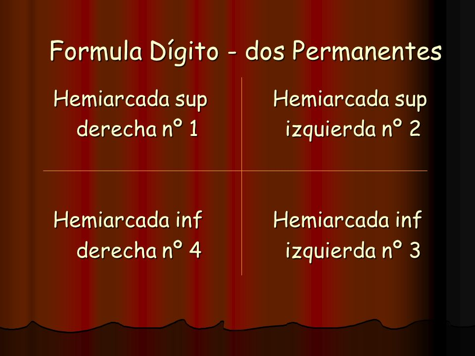 Formula Dígito - dos Permanentes Hemiarcada sup Hemiarcada sup Hemiarcada sup Hemiarcada sup derecha nº 1 izquierda nº 2 Hemiarcada inf Hemiarcada inf