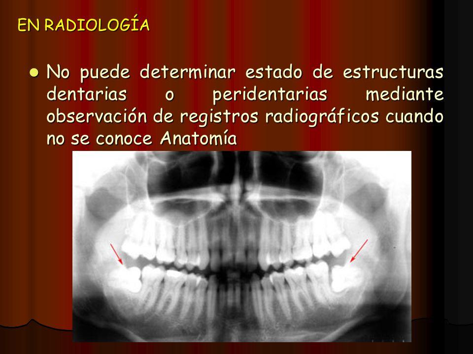 EN RADIOLOGÍA No puede determinar estado de estructuras dentarias o peridentarias mediante observación de registros radiográficos cuando no se conoce