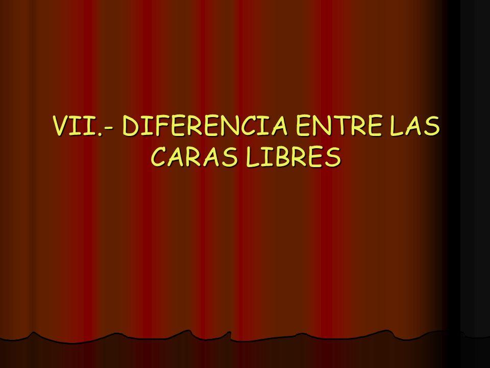 VII.- DIFERENCIA ENTRE LAS CARAS LIBRES