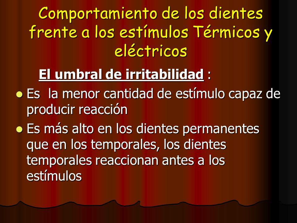 Comportamiento de los dientes frente a los estímulos Térmicos y eléctricos El umbral de irritabilidad : El umbral de irritabilidad : Es la menor canti