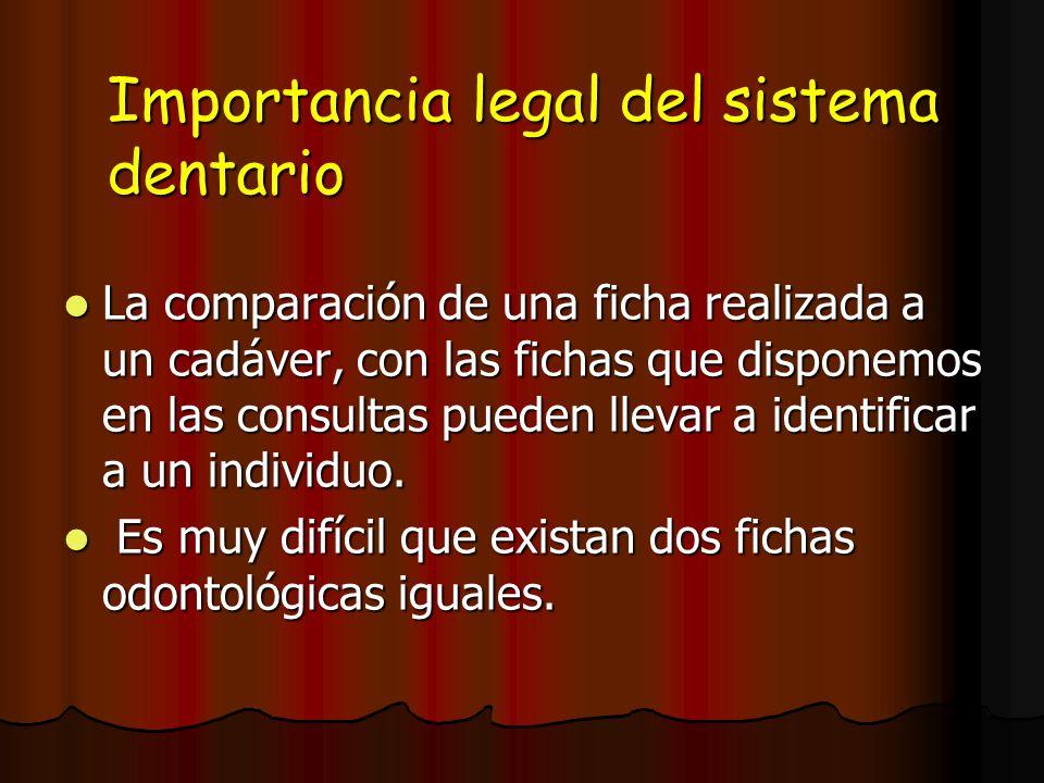 Importancia legal del sistema dentario La comparación de una ficha realizada a un cadáver, con las fichas que disponemos en las consultas pueden lleva