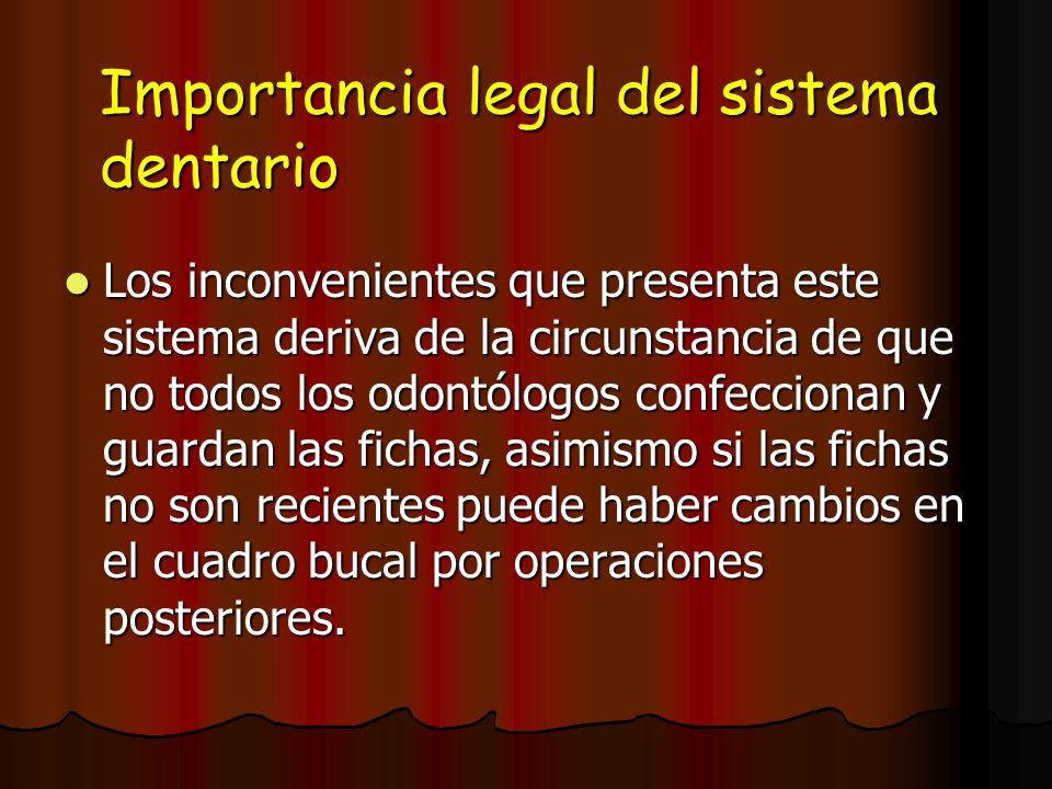 Importancia legal del sistema dentario Los inconvenientes que presenta este sistema deriva de la circunstancia de que no todos los odontólogos confecc
