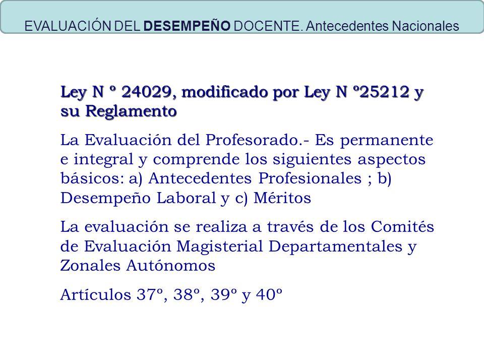 EVALUACIÓN DEL DESEMPEÑO DOCENTE. Antecedentes Nacionales Ley N º 24029, modificado por Ley N º25212 y su Reglamento La Evaluación del Profesorado.- E