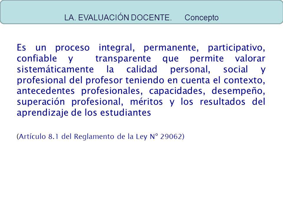 Es un proceso integral, permanente, participativo, confiable y transparente que permite valorar sistemáticamente la calidad personal, social y profesi