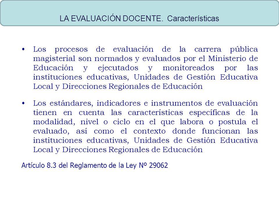 Los procesos de evaluación de la carrera pública magisterial son normados y evaluados por el Ministerio de Educación y ejecutados y monitoreados por l