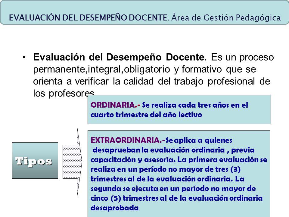 Evaluación del Desempeño Docente. Es un proceso permanente,integral,obligatorio y formativo que se orienta a verificar la calidad del trabajo profesio