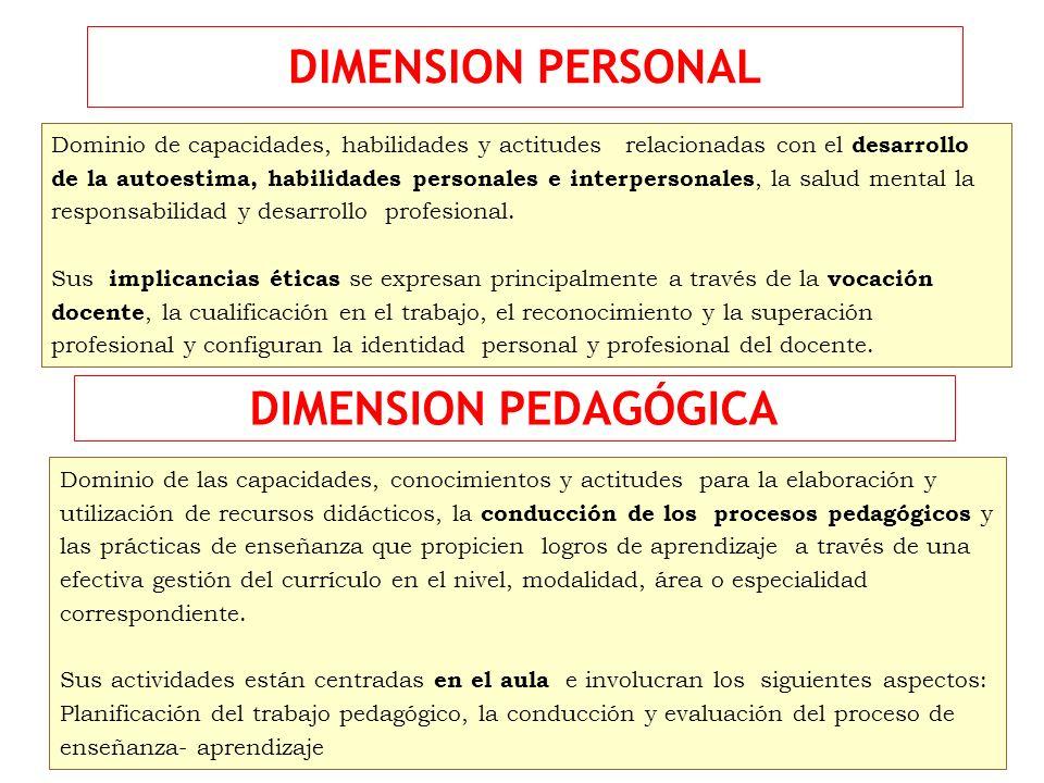 DIMENSION PERSONAL Dominio de capacidades, habilidades y actitudes relacionadas con el desarrollo de la autoestima, habilidades personales e interpers