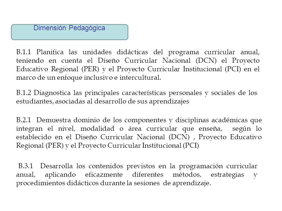 Dimensión Pedagógica B.1.1 Planifica las unidades didácticas del programa curricular anual, teniendo en cuenta el Diseño Curricular Nacional (DCN) el