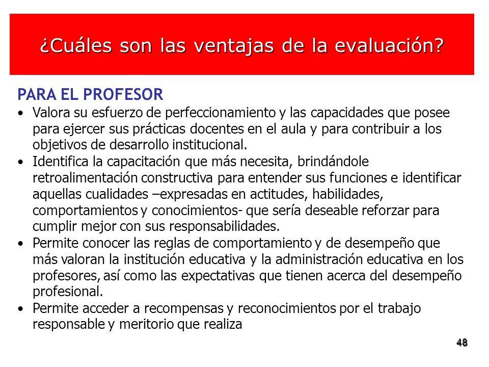 48 PARA EL PROFESOR Valora su esfuerzo de perfeccionamiento y las capacidades que posee para ejercer sus prácticas docentes en el aula y para contribu