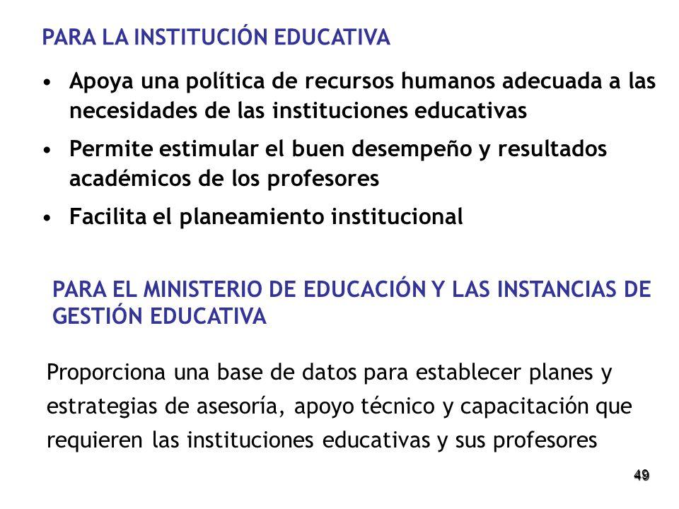 49 PARA LA INSTITUCIÓN EDUCATIVA Apoya una política de recursos humanos adecuada a las necesidades de las instituciones educativas Permite estimular e