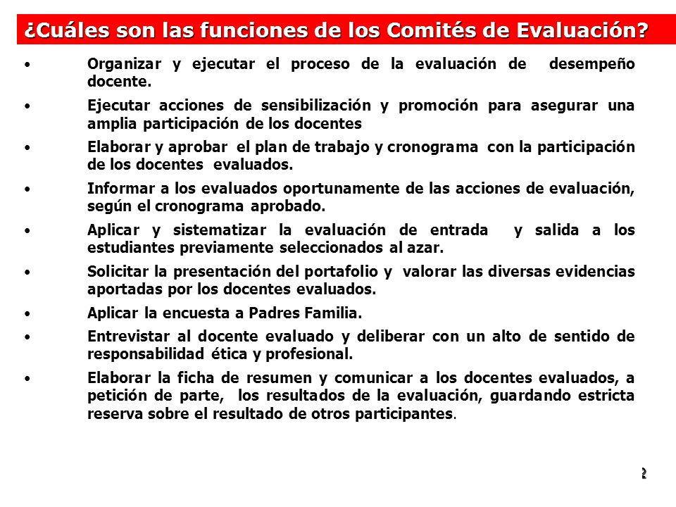 52 ¿Cuáles son las funciones de los Comités de Evaluación? Organizar y ejecutar el proceso de la evaluación de desempeño docente. Ejecutar acciones de