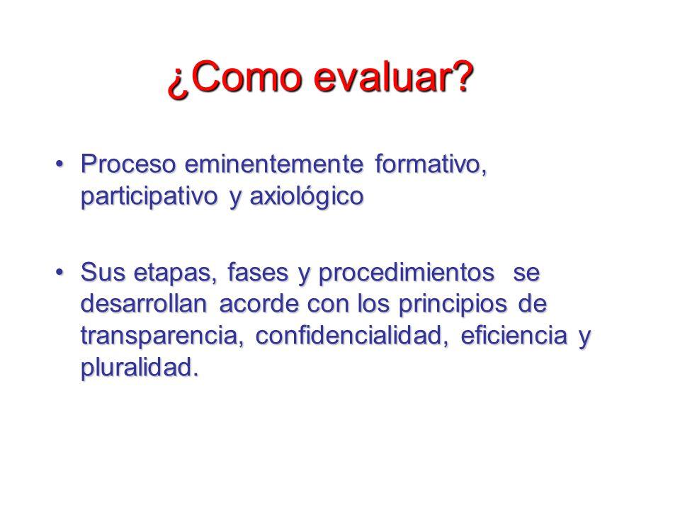 ¿Como evaluar? Proceso eminentemente formativo, participativo y axiológicoProceso eminentemente formativo, participativo y axiológico Sus etapas, fase