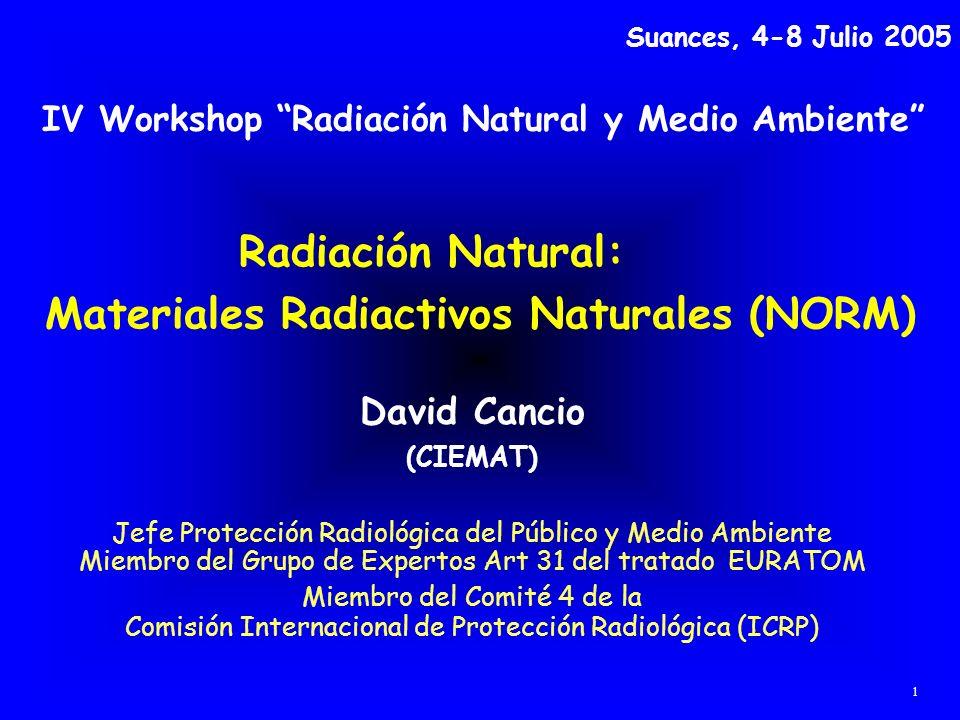 Radiación Natural: Materiales Radiactivos Naturales (NORM) David Cancio (CIEMAT) Jefe Protección Radiológica del Público y Medio Ambiente Miembro del
