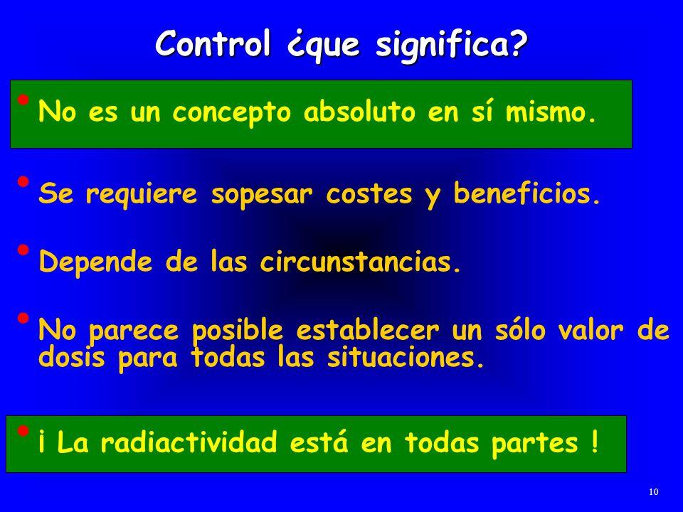 Control ¿que significa? No es un concepto absoluto en sí mismo. 10 Se requiere sopesar costes y beneficios. Depende de las circunstancias. No parece p