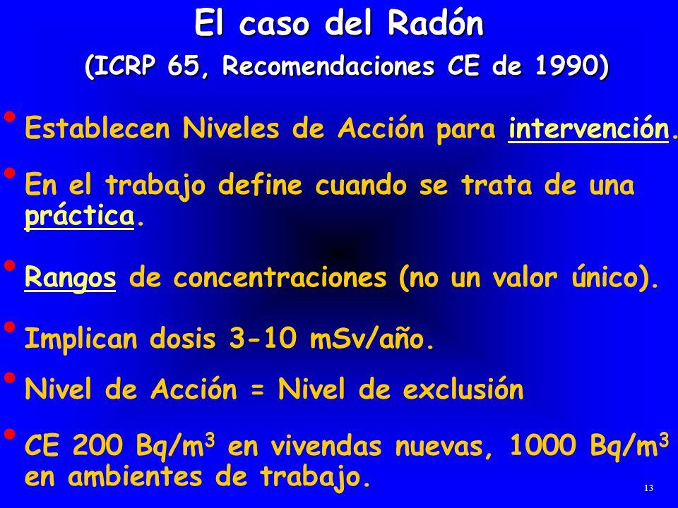 El caso del Radón (ICRP 65, Recomendaciones CE de 1990) Establecen Niveles de Acción para intervención. En el trabajo define cuando se trata de una pr