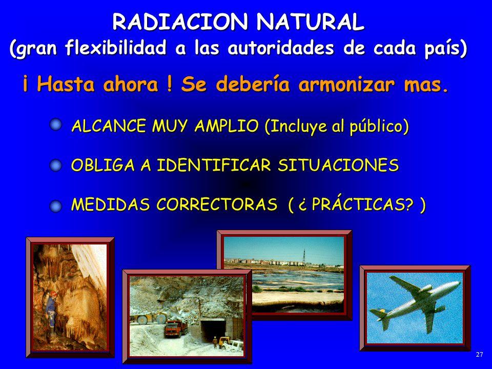 RADIACION NATURAL (gran flexibilidad a las autoridades de cada país) ALCANCE MUY AMPLIO (Incluye al público) OBLIGA A IDENTIFICAR SITUACIONES MEDIDAS