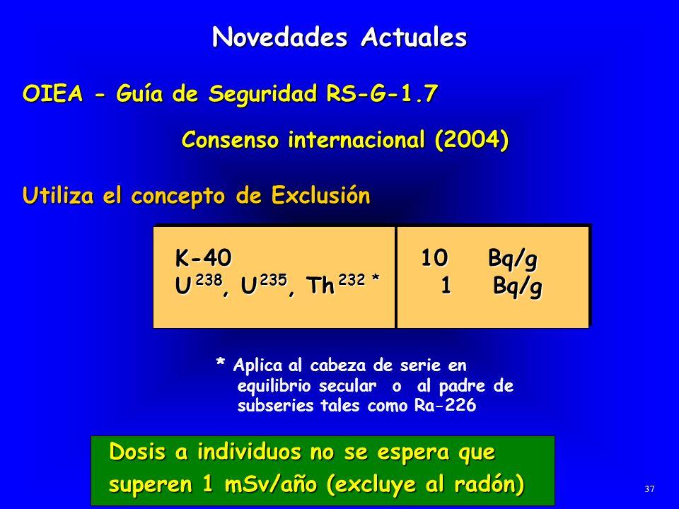 Novedades Actuales OIEA - Guía de Seguridad RS-G-1.7 OIEA - Guía de Seguridad RS-G-1.7 Consenso internacional (2004) Utiliza el concepto de Exclusión
