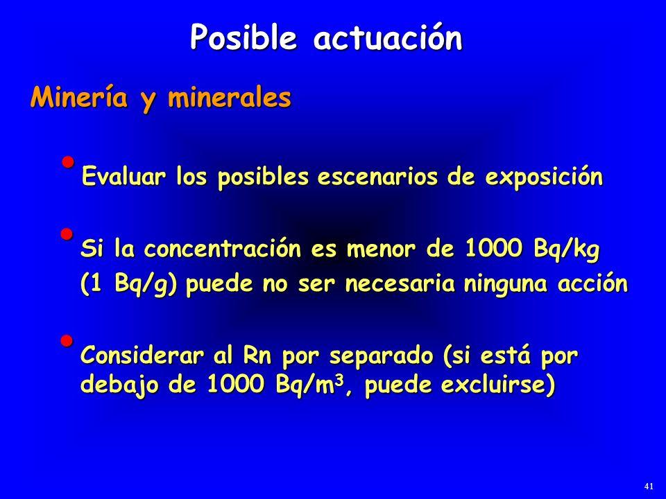 Evaluar los posibles escenarios de exposición Evaluar los posibles escenarios de exposición Posible actuación Minería y minerales Si la concentración