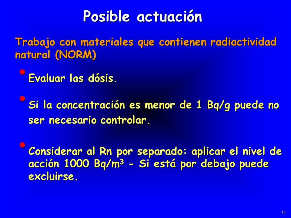 Evaluar las dósis. Evaluar las dósis. Posible actuación Trabajo con materiales que contienen radiactividad natural (NORM) Si la concentración es menor