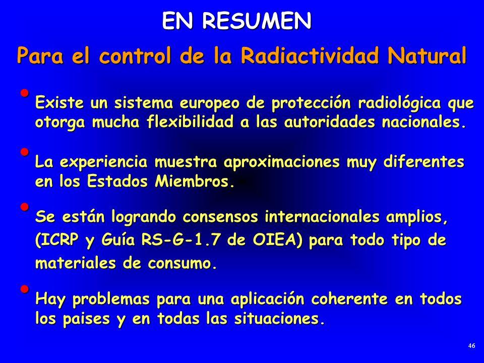 Existe un sistema europeo de protección radiológica que otorga mucha flexibilidad a las autoridades nacionales. Existe un sistema europeo de protecció