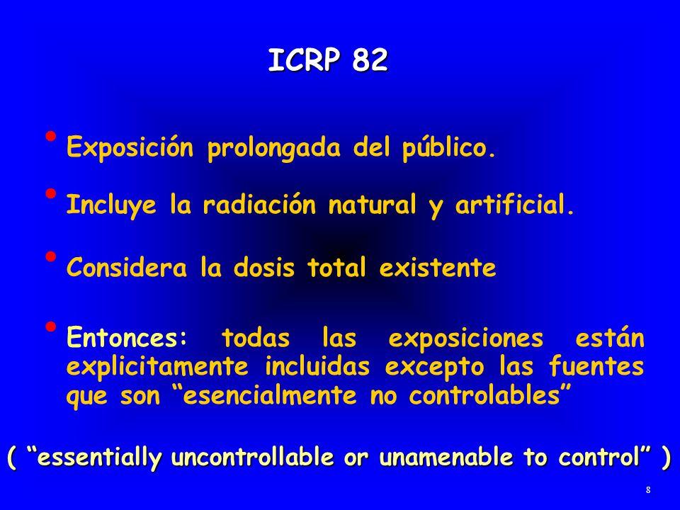 ICRP 82 Exposición prolongada del público. Incluye la radiación natural y artificial. Considera la dosis total existente 8 ( essentially uncontrollabl