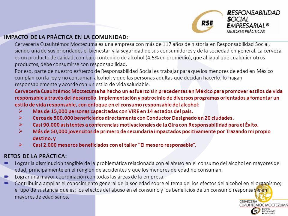 IMPACTO DE LA PRÁCTICA EN LA COMUNIDAD: Cervecería Cuauhtémoc Moctezuma es una empresa con más de 117 años de historia en Responsabilidad Social, sien
