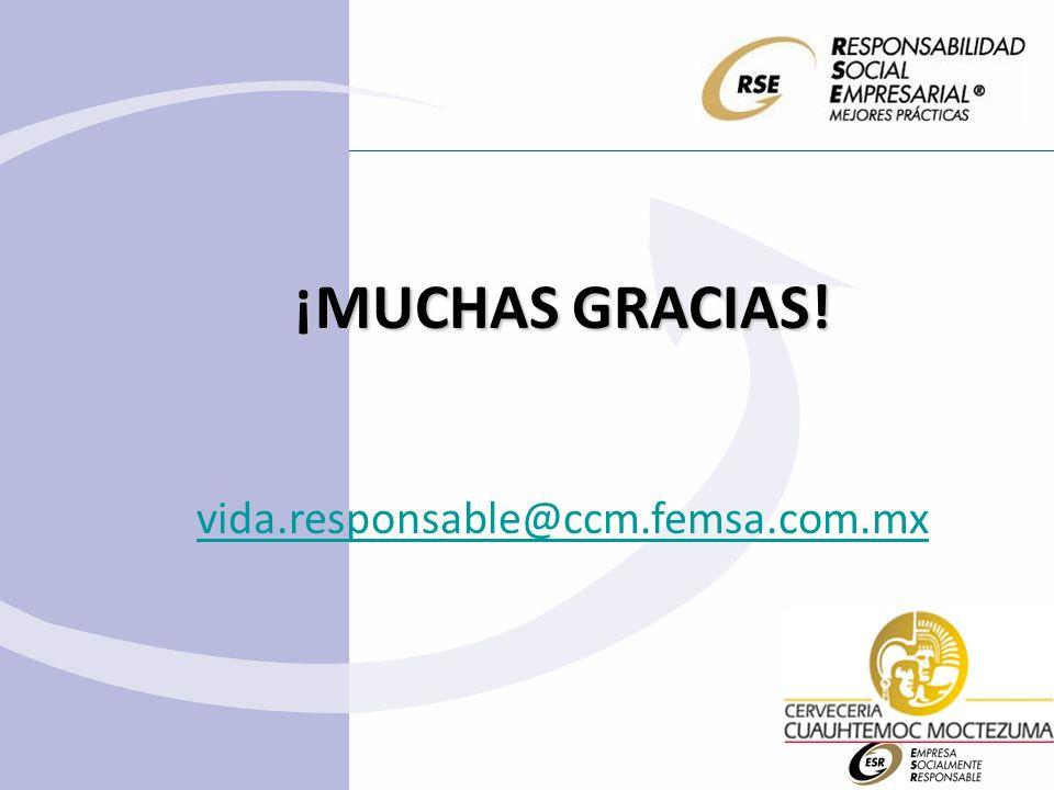 ¡MUCHAS GRACIAS! vida.responsable@ccm.femsa.com.mx