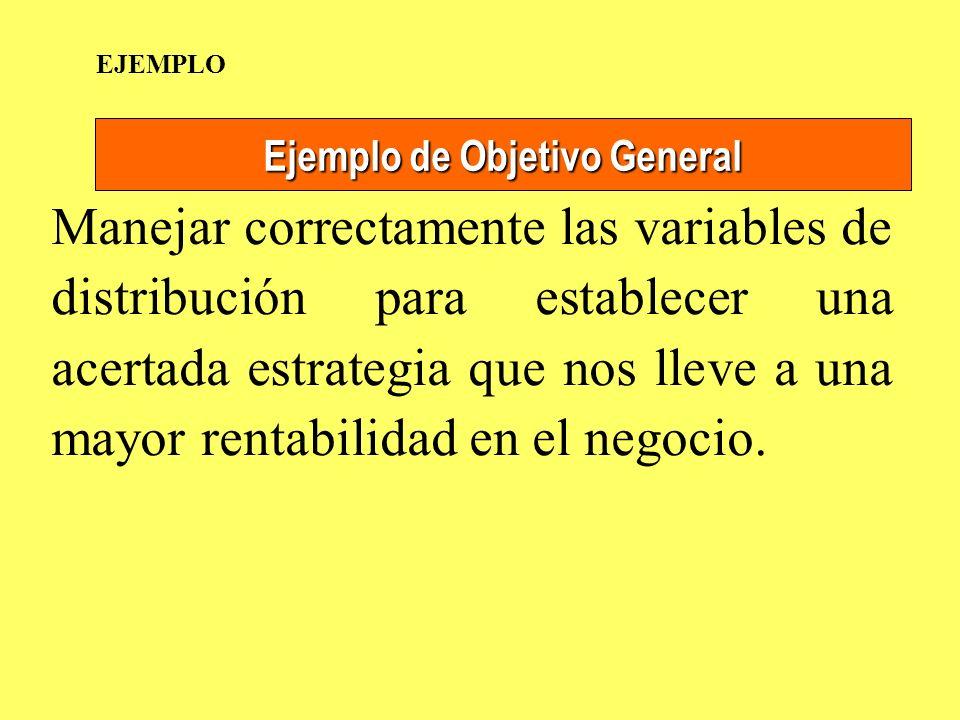 Ejemplo de Objetivo General Manejar correctamente las variables de distribución para establecer una acertada estrategia que nos lleve a una mayor rent