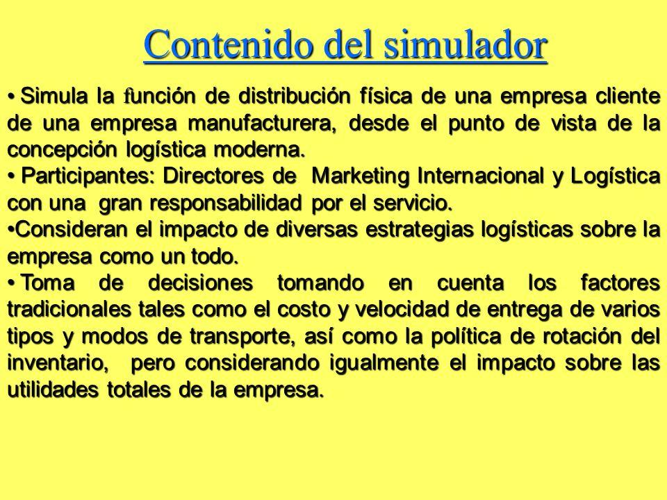 Contenido del simulador Simula la f unción de distribución física de una empresa cliente de una empresa manufacturera, desde el punto de vista de la c