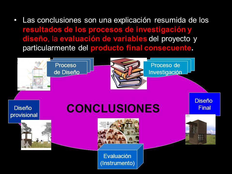Las conclusiones son una explicación resumida de los resultados de los procesos de investigación y diseño, la evaluación de variables del proyecto y p