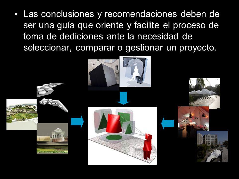 Las conclusiones y recomendaciones deben de ser una guía que oriente y facilite el proceso de toma de dediciones ante la necesidad de seleccionar, com